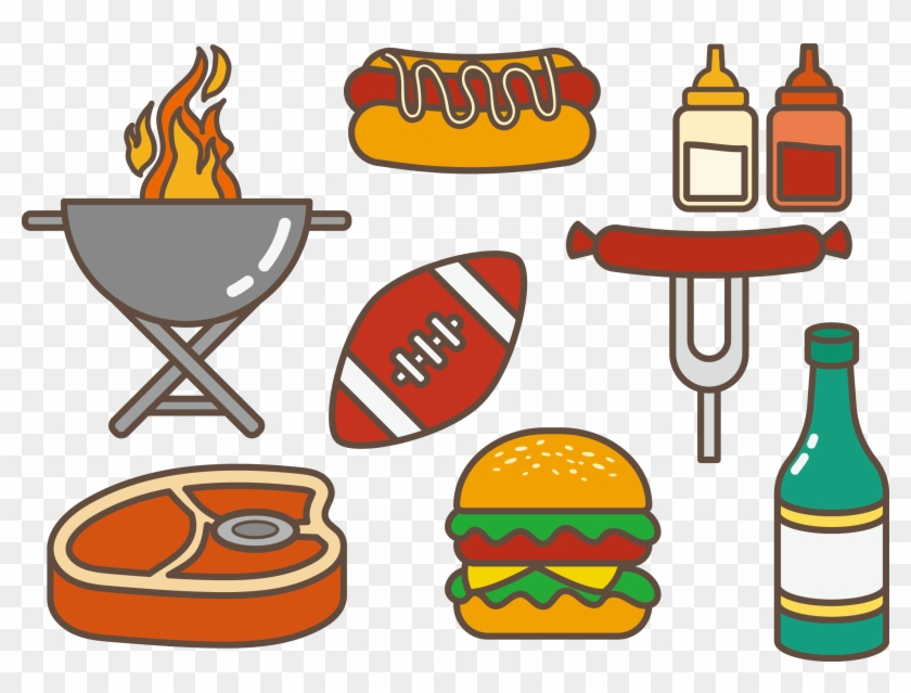 Tailgate Party Hamburger Hot Dog Barbecue Clip Art - Tailgate Food Drawing #489905