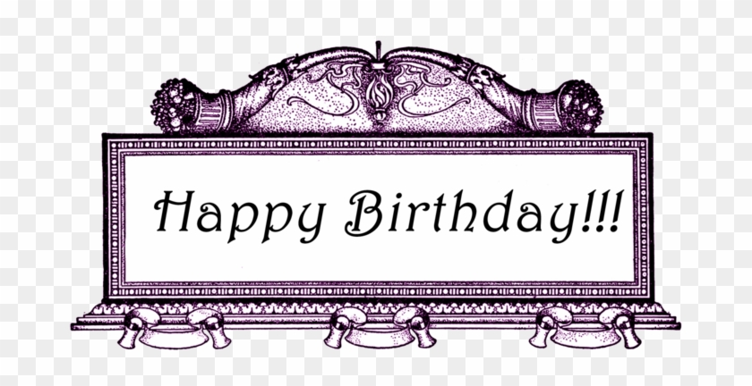 Free Vintage Digital Stamp Ornate Frame Happy Birthday - Digital Stamp #490172