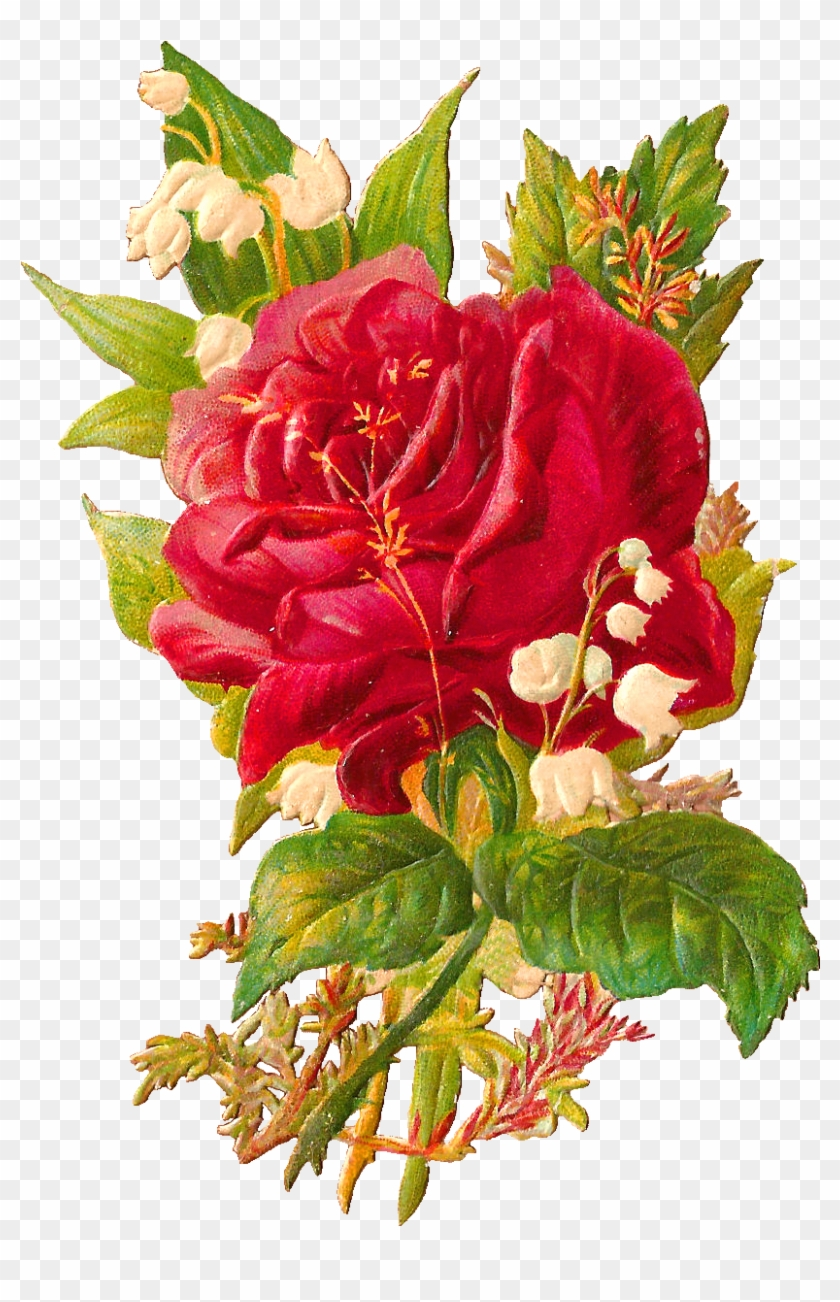 This Is A Very Pretty Victorian Scrap Of Large Red Rose And Lily