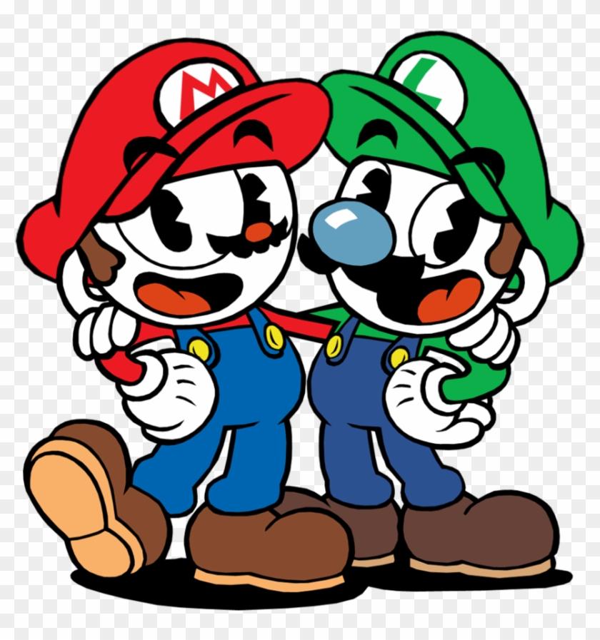 Cuphead And Mugman By Twin-gamer - Cuphead And Mugman Mario And Luigi #491101