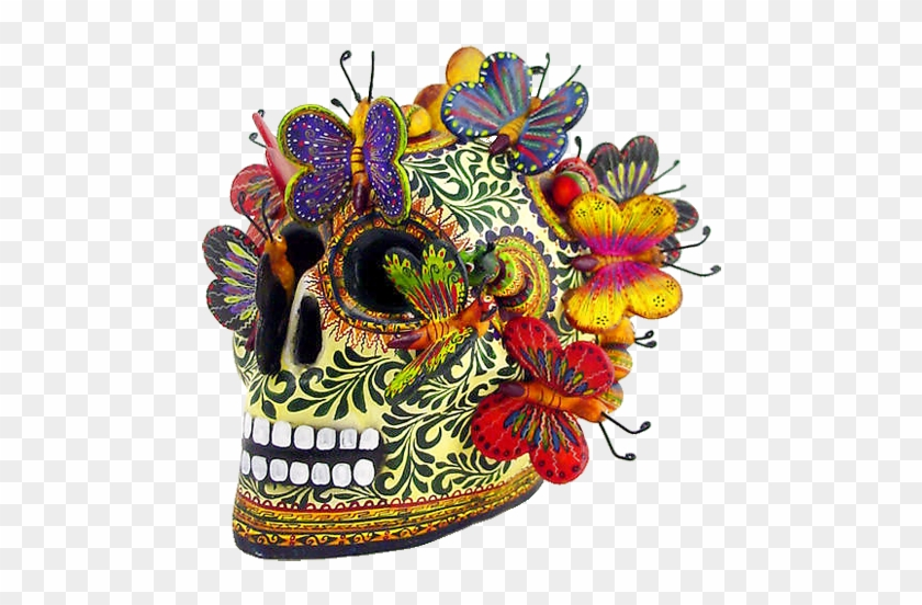 Alfonso Castillo Skull <> Izucar De Matamoros Multicolored - Day Of The Dead Skulls Artwork #491425