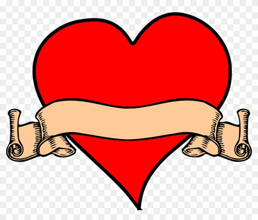 Human Heart Clipart 23, - Scroll Banner Clip Art #492186