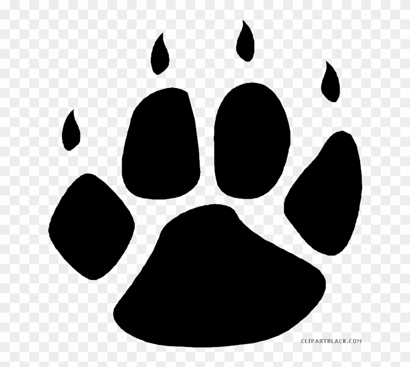 Bear Paw Print Animal Free Black White Clipart Images - Wolf Paw Print Transparent #493518