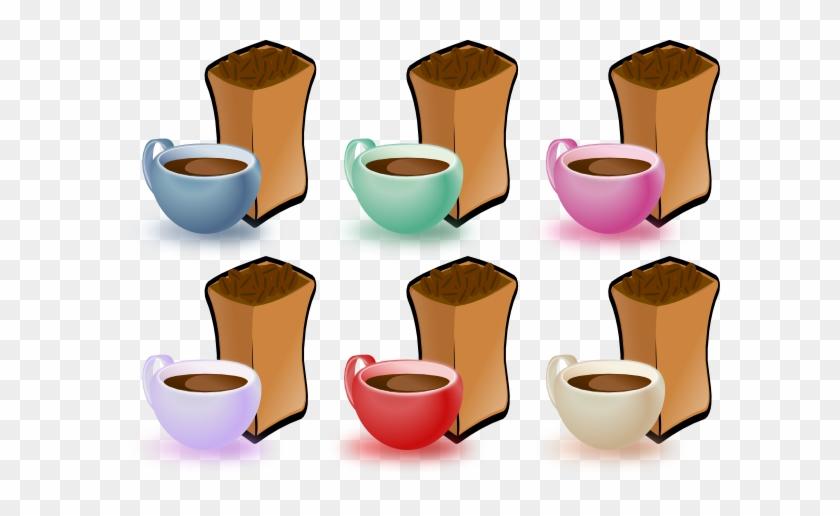 Coffee Cups And Bean Clip Art - Coffee Beans Clip Art #493913
