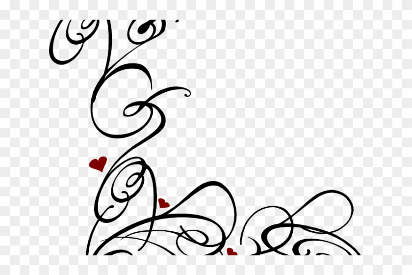 Decorative Line Black Clipart Swirl - Heart Swirls #494973