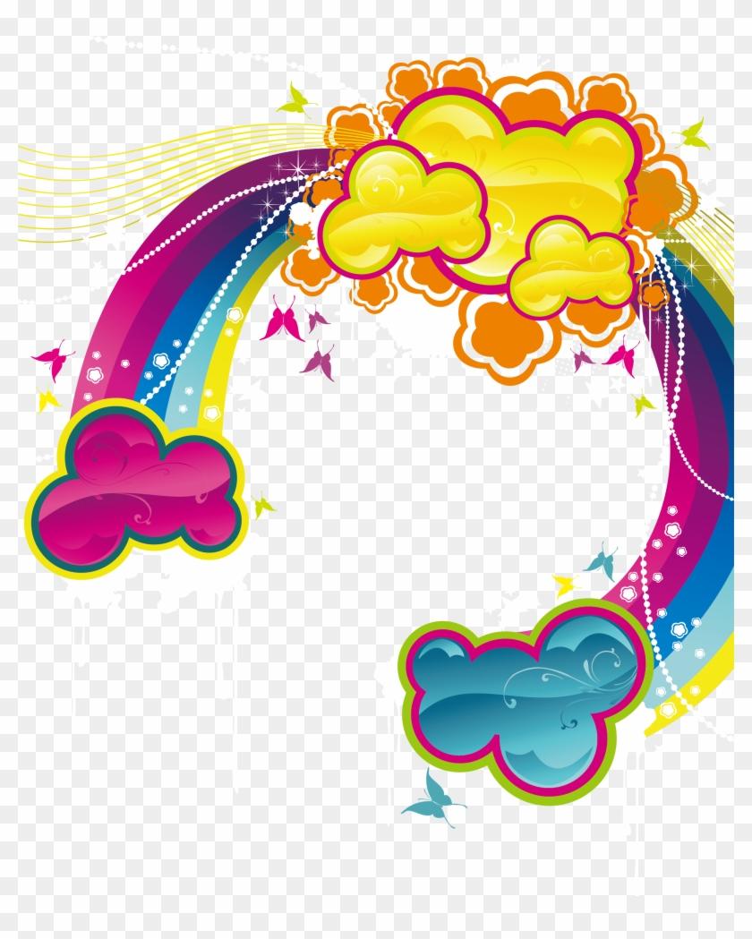 Cartoon Rainbow With Clouds Vector - Vetores Png Arco Iris De Tinta #495562