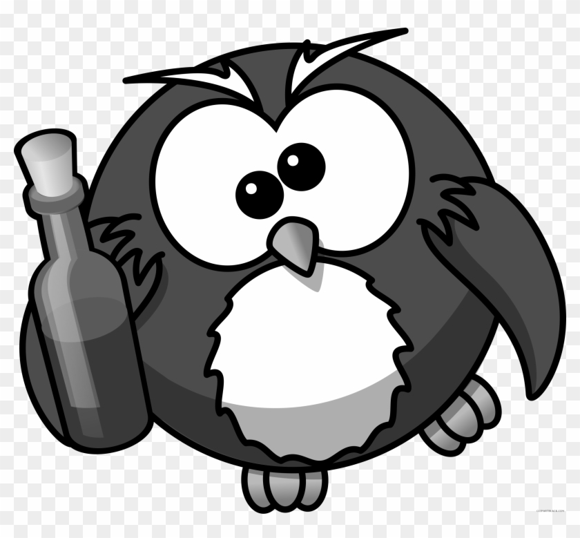 Owl High Quality Animal Free Black White Clipart Images - Custom Owl With Wine Shower Curtain #495754