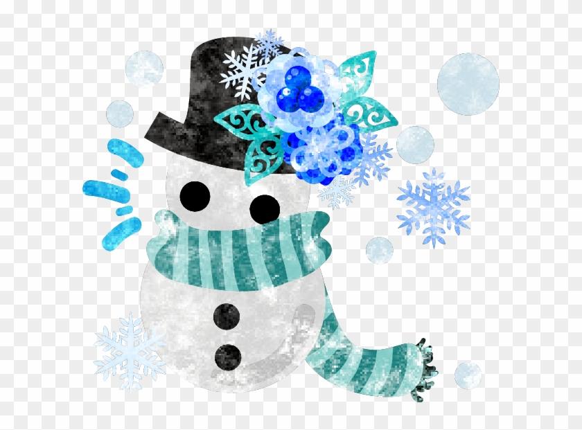 フリーのイラスト素材冬と女の子の可愛いイラスト 可愛い雪だるま Free