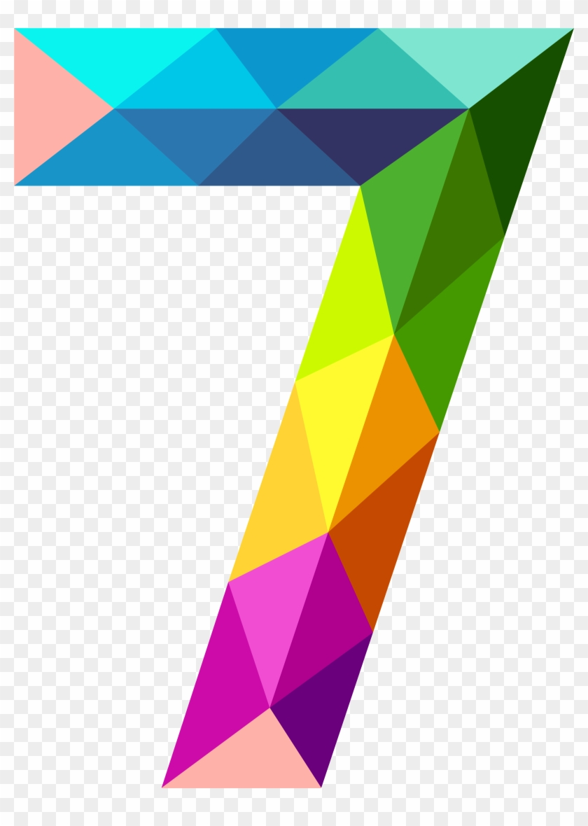 Colourful Triangles Number Seven Png Clipart Image - Number 7 Clipart #498390