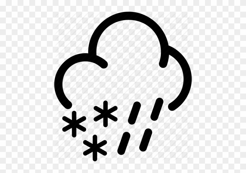Snow Cloud Clipart Black And White - Heavy Rain Weather Icon #499250