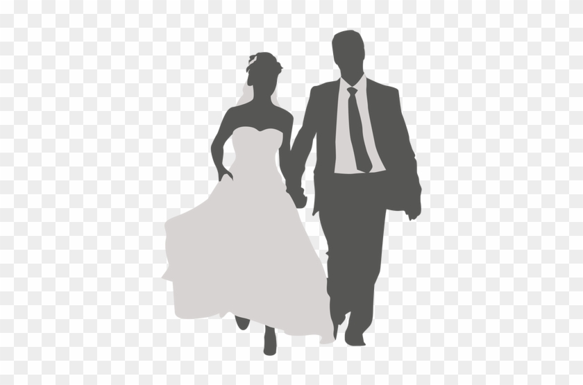 Wedding Couple Walking Silhouette 2 By Vexels - Wedding Man And Woman Png #499694