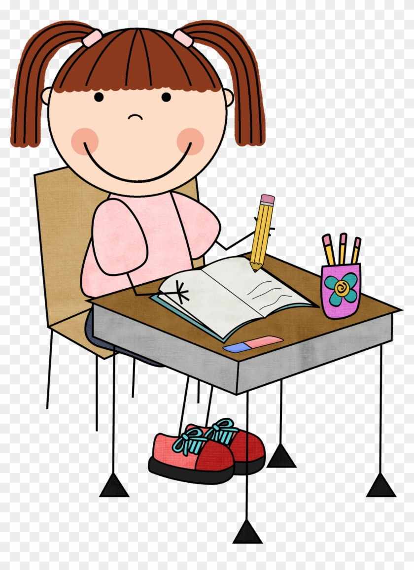 Kids Writing Together Clipart