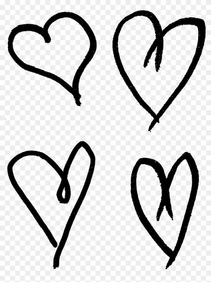 Hand Drawn Hearts Illustrations Collage Sheet Printable - Hand Drawn Hearts Png #85904