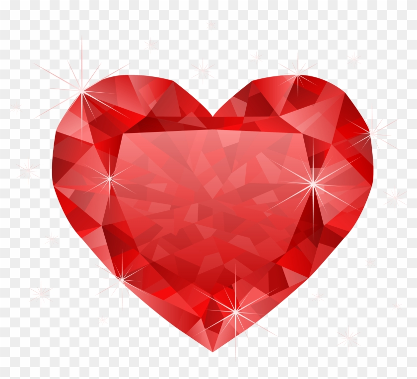 Large Transparent Diamond Red Heart Png Clipart - Heart Png Transparent #85927