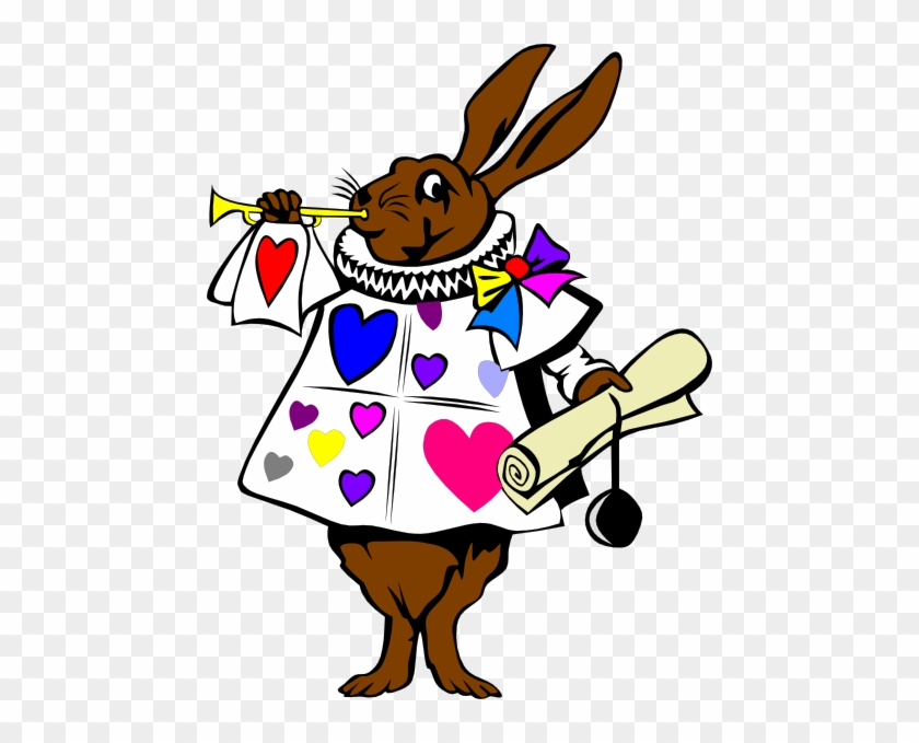 Heart Bunny With Trumpet Clip Art - Alice In The Wonderland Rabbits #85965