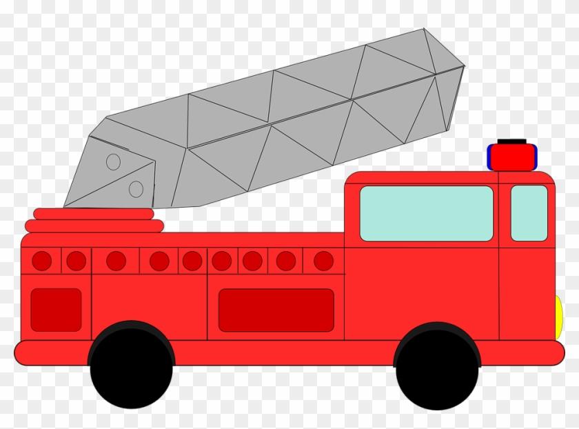 Outline, Man, Fireman, Fire, Engine, Car, Cartoon - Red Fire Truck Clip Art #85966