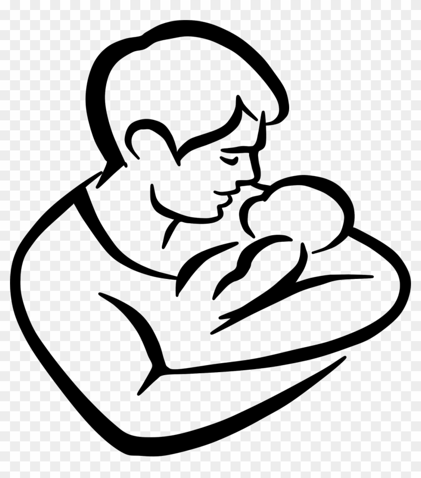 Father And Child Clipart - Dad And Baby Drawing #85996