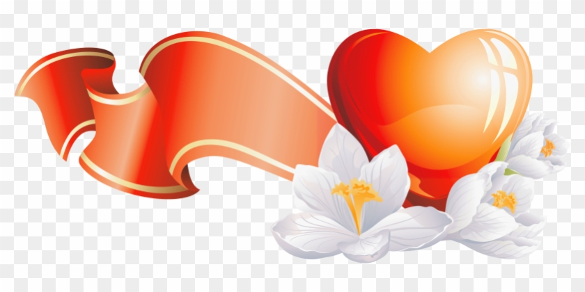 Heart Element With White Flowers Clipart - Heart #85997