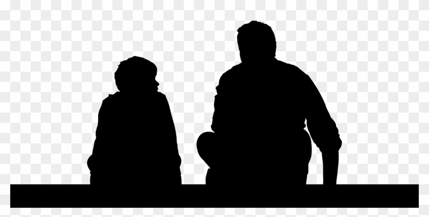 Father And Son Sitting Silhouette - Father And Son Silhouette Png #86013
