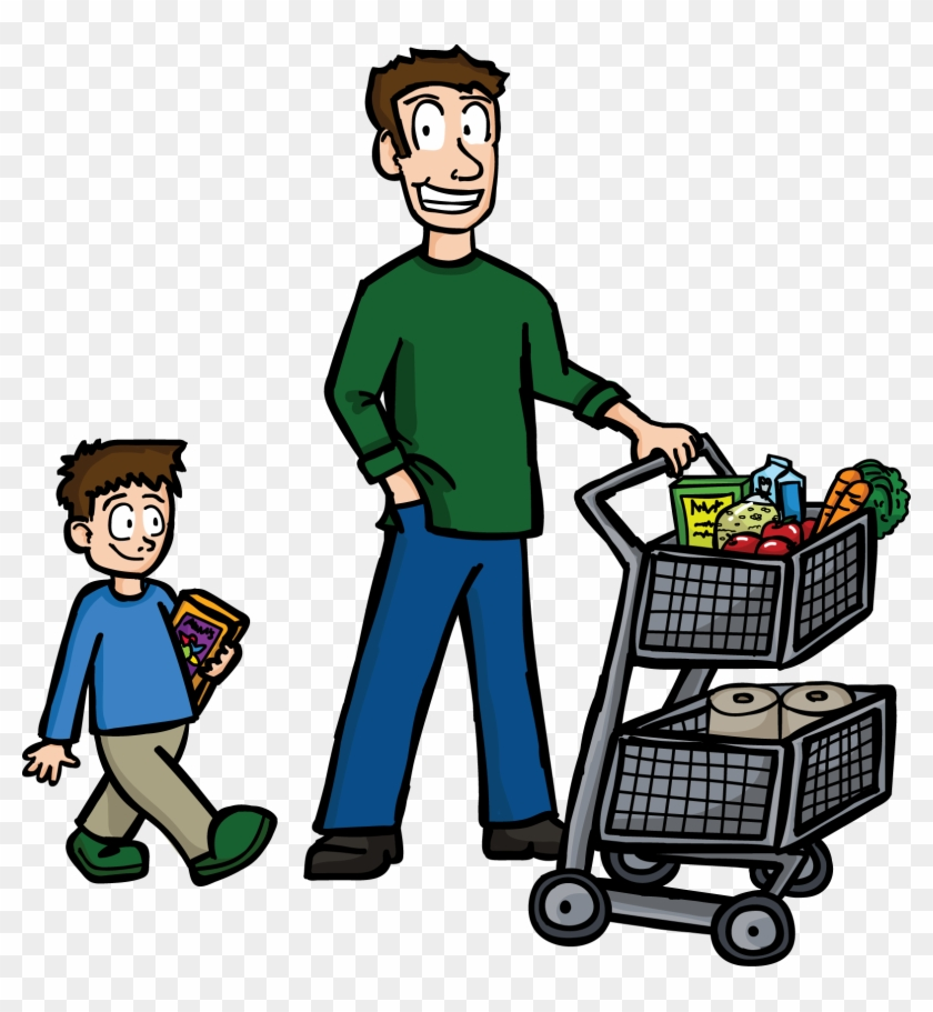 Shopping Dad - Clipart Buying Food #86024