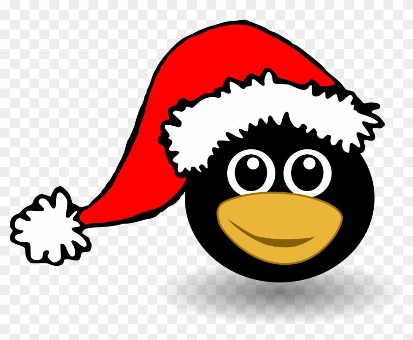 Christmas Penguin Clipart Black And - Penguin Santa Yard Sign #86030