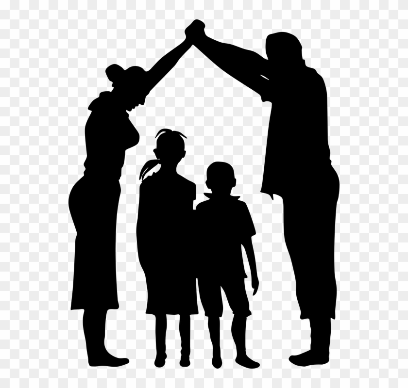 Boy Child Dad Daughter Family Father Female Girl - Family Silhouette Png #86122