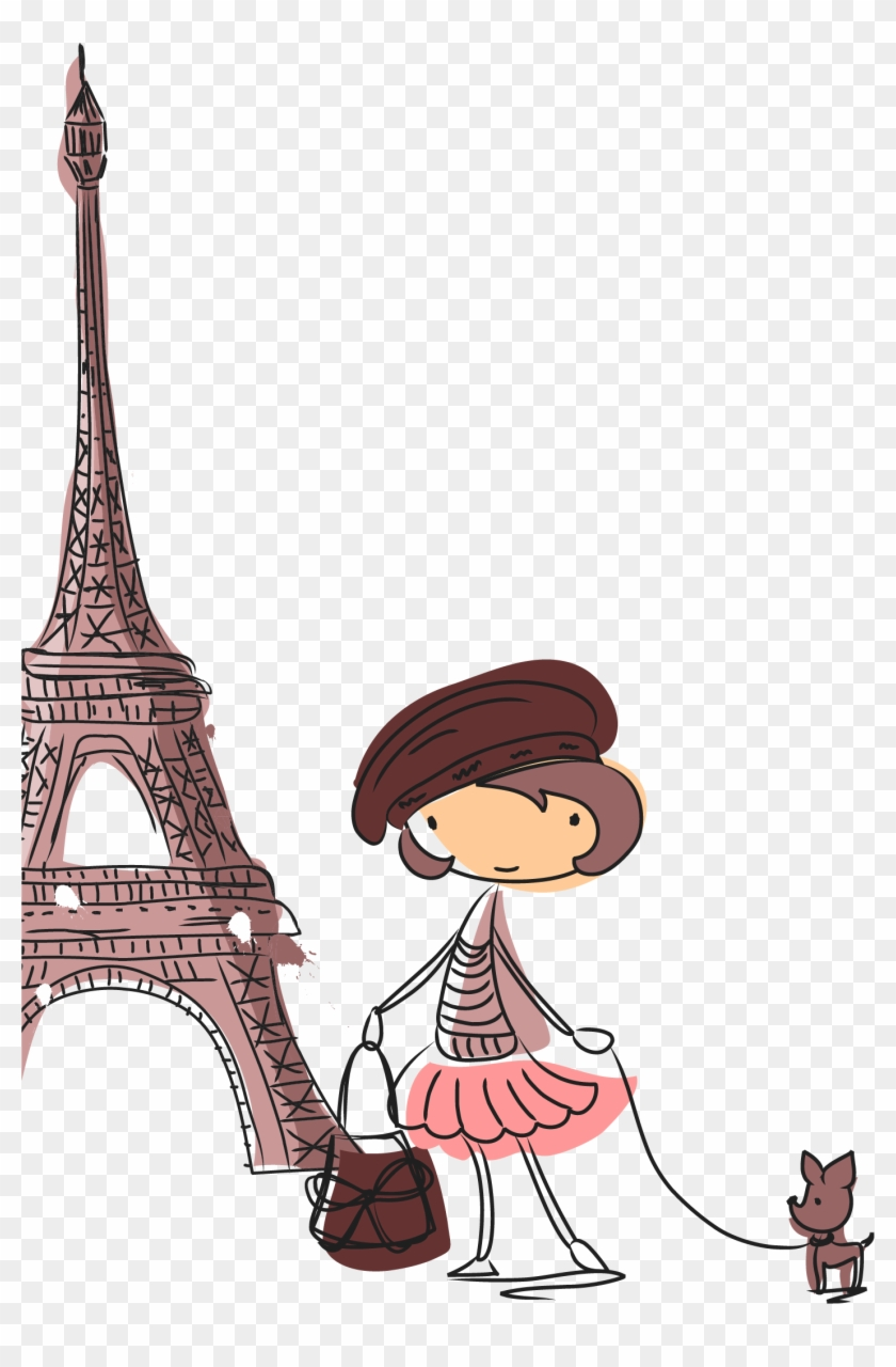 Eiffel Tower Drawing Cartoon Illustration - Mobile Cover For Iphone 6 And 6s Soft Back Case Cover #86147