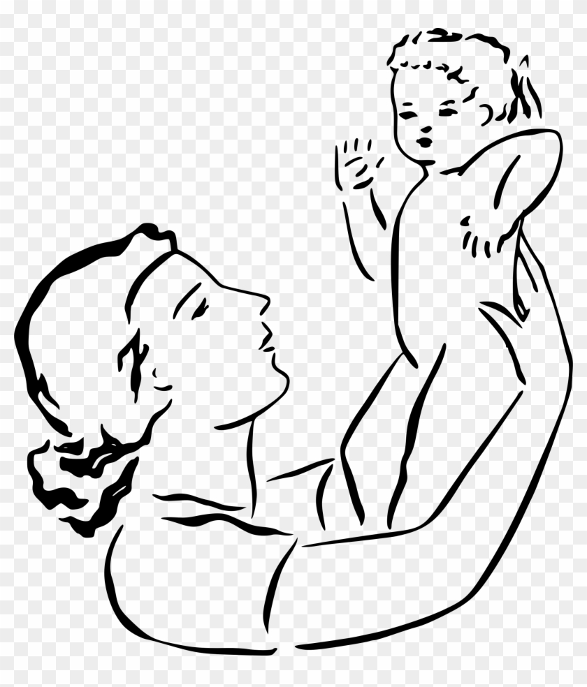 Mother Holds Baby Black And White Clip Art Mom Free Transparent Png Clipart Images Download