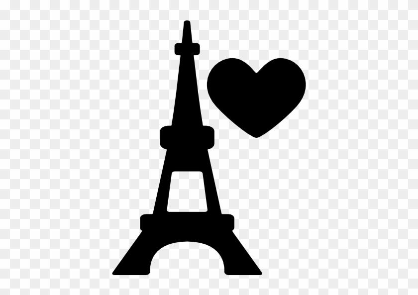 Eiffel Tower With Heart Vector - Eiffel Tower Silhouette Png #86234