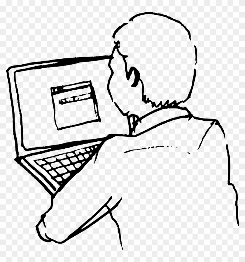 Line Drawing Of Man At Computer Clipart - Sketch Of Eiffel Tower #86246