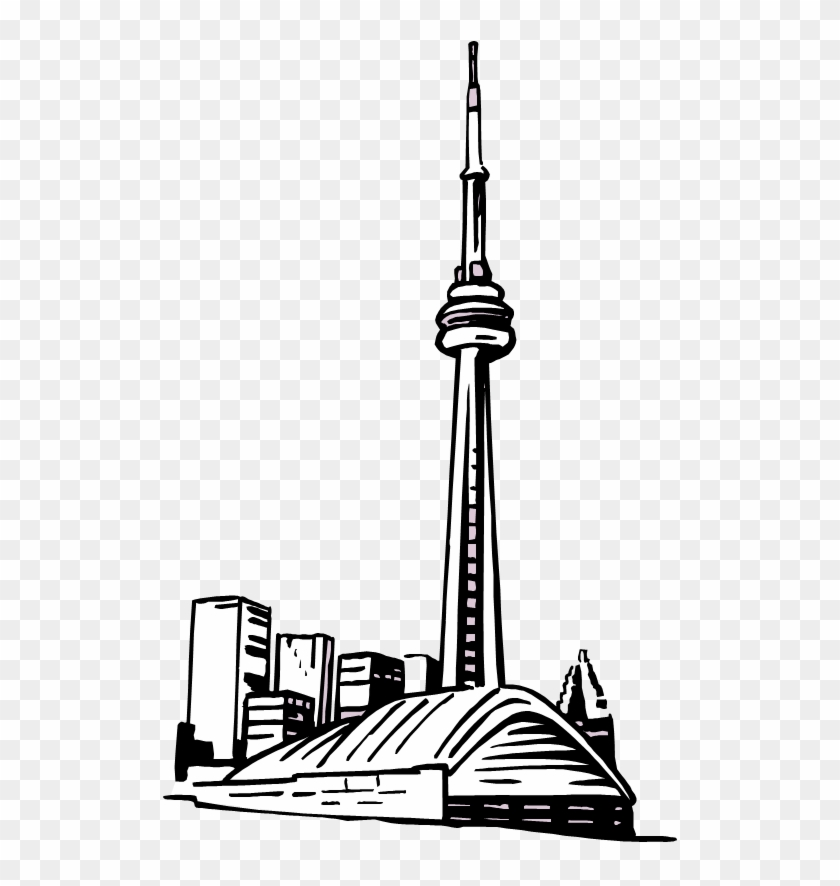 Cn Tower Drawing Easy - Sticker #86284