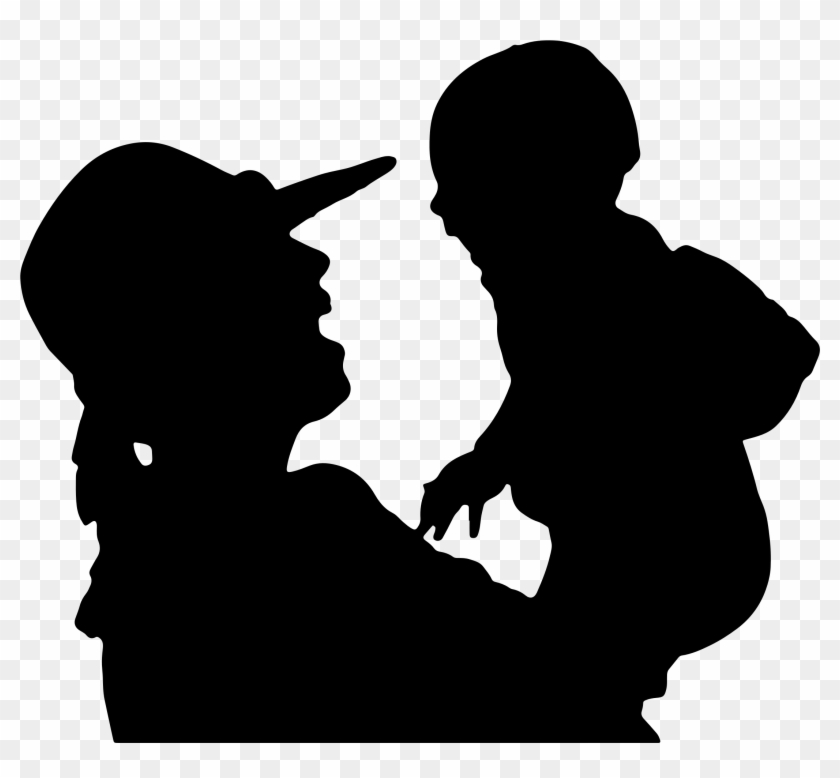 Big Image - Mother And Baby Silhouette Png #86291