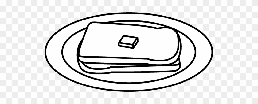 Buttered Bread On A Plate - Clip Art #86396