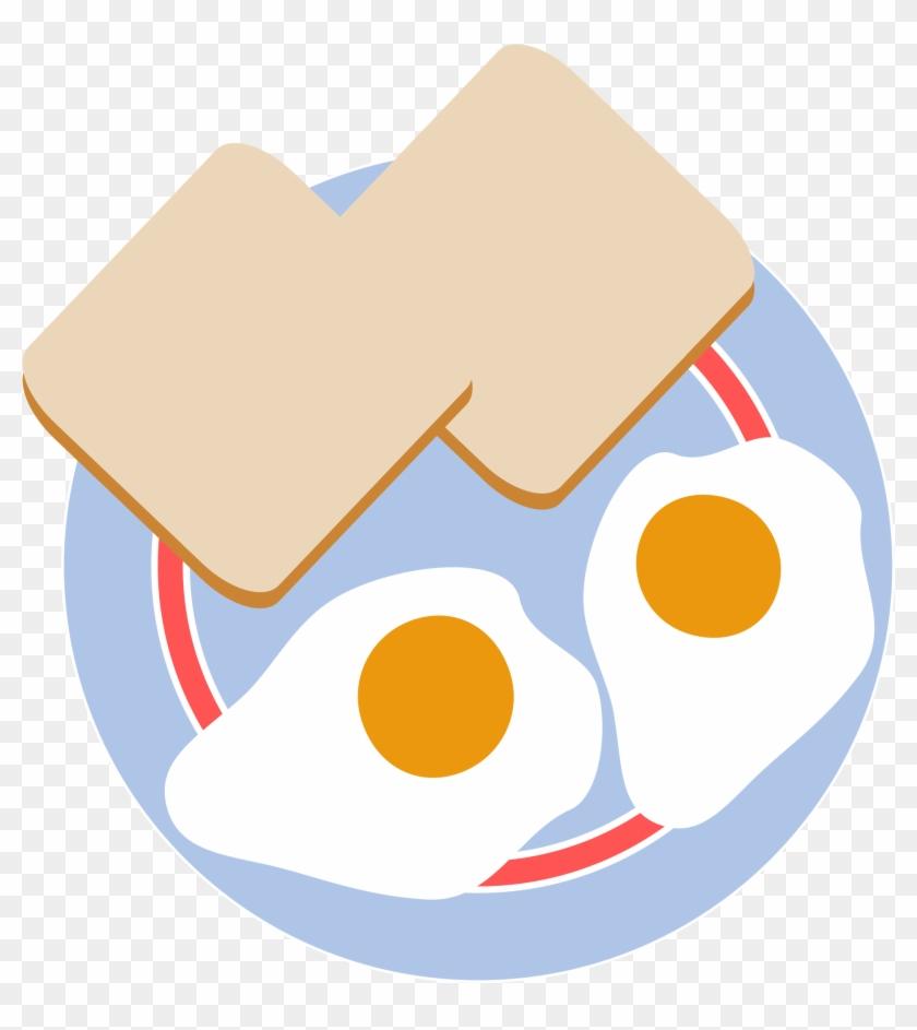 Fried Egg Clipart Eye - Eggs And Toast Cartoon #86500