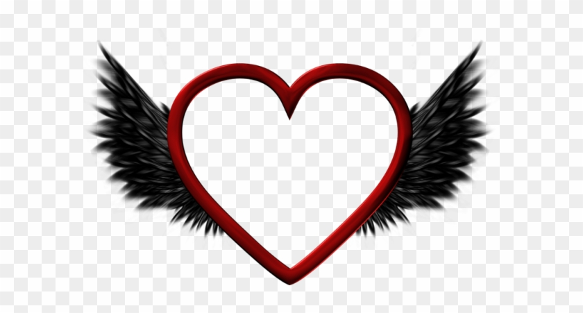 Wings Clipart Black Heart - Portable Network Graphics #86635