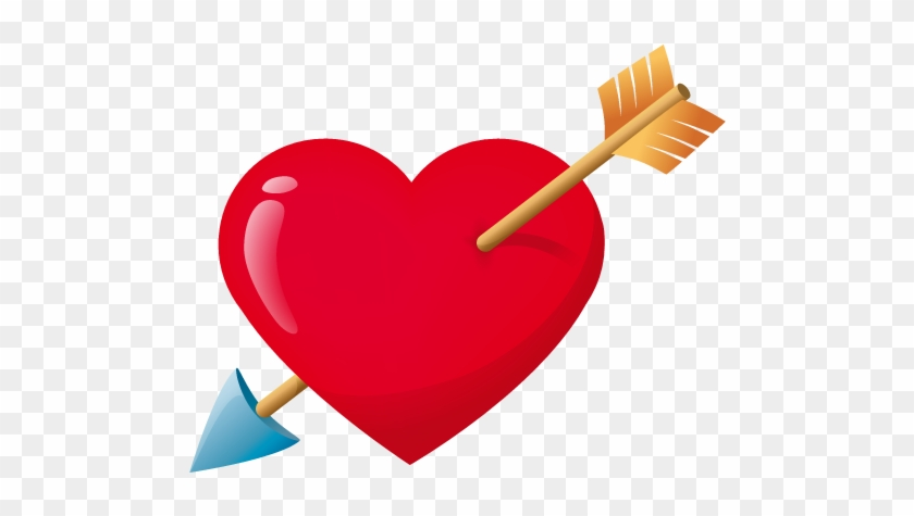 See Here Heart Face Clip Art Black And White - Red Heart With Arrow #86640
