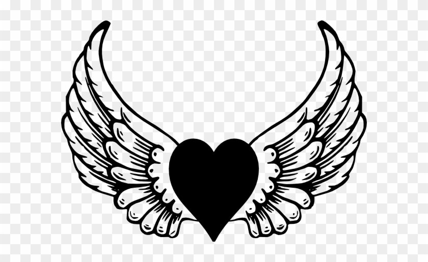 Eagle Heart Wings Clip Art - Heart With Wings Vector #86697