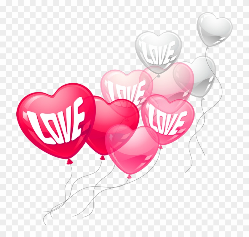 Valentines Day Pink And White Love Heart Baloons Png - San Valentin Globos Png #86812