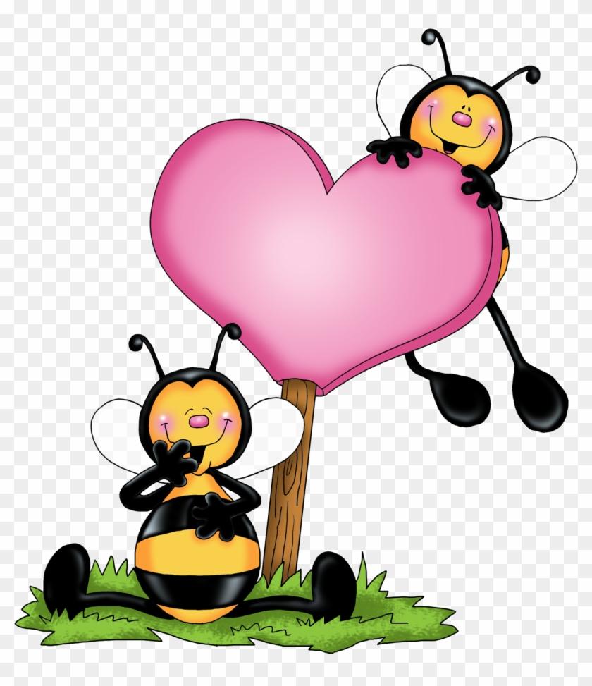 Buzzing Pink Bee Clip Art - Valentine Bee Clip Art #86943