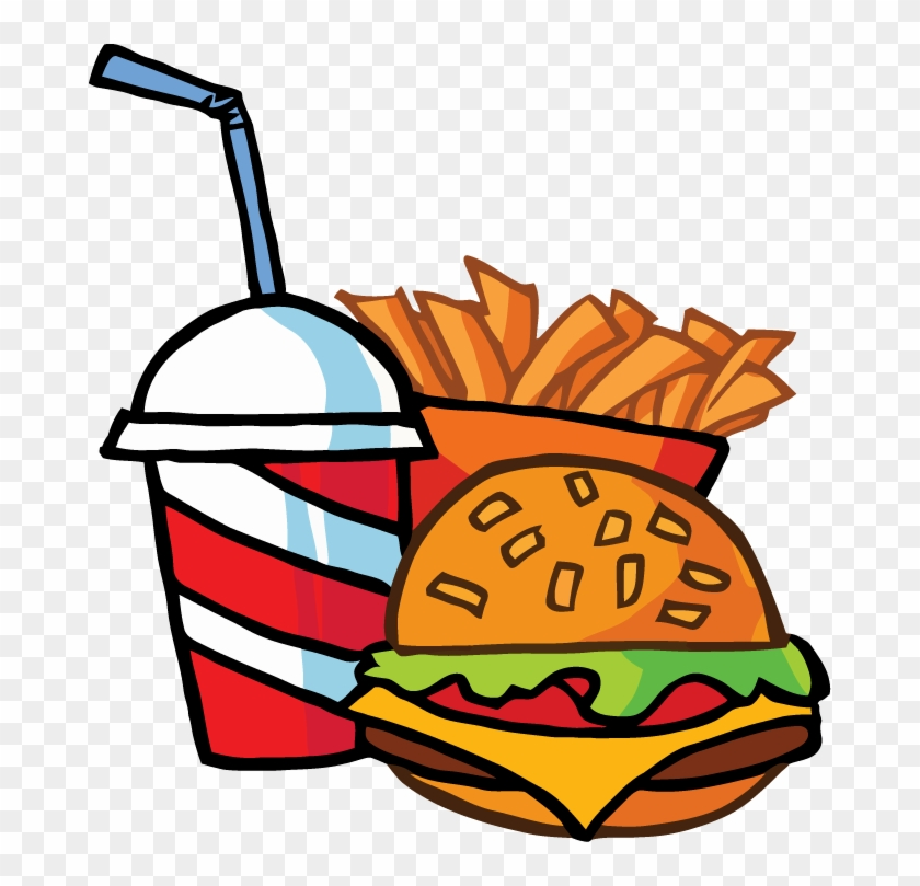 Fast Food Cheeseburger Drink With French Fries Tattoo - Cartoon Hamburger And Fries #87089