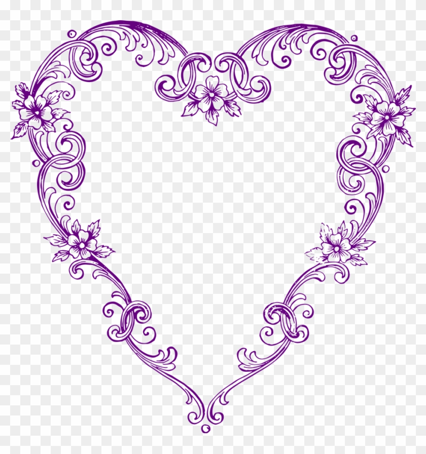 Free Images Fancy Vintage Purple Heart Clip Art - Vintage Heart Clip Art #87415