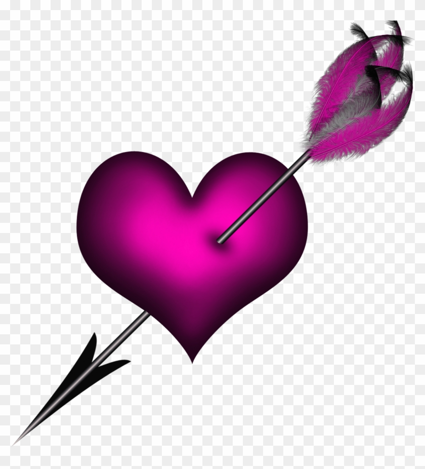 Transparent Pink Heart With Arrow Png Clipart Purple - Love Heart With Arrow #87426