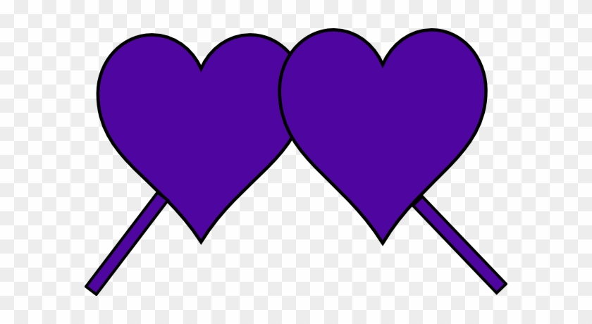 Purple Hearts Down Lines - Clip Art #87542