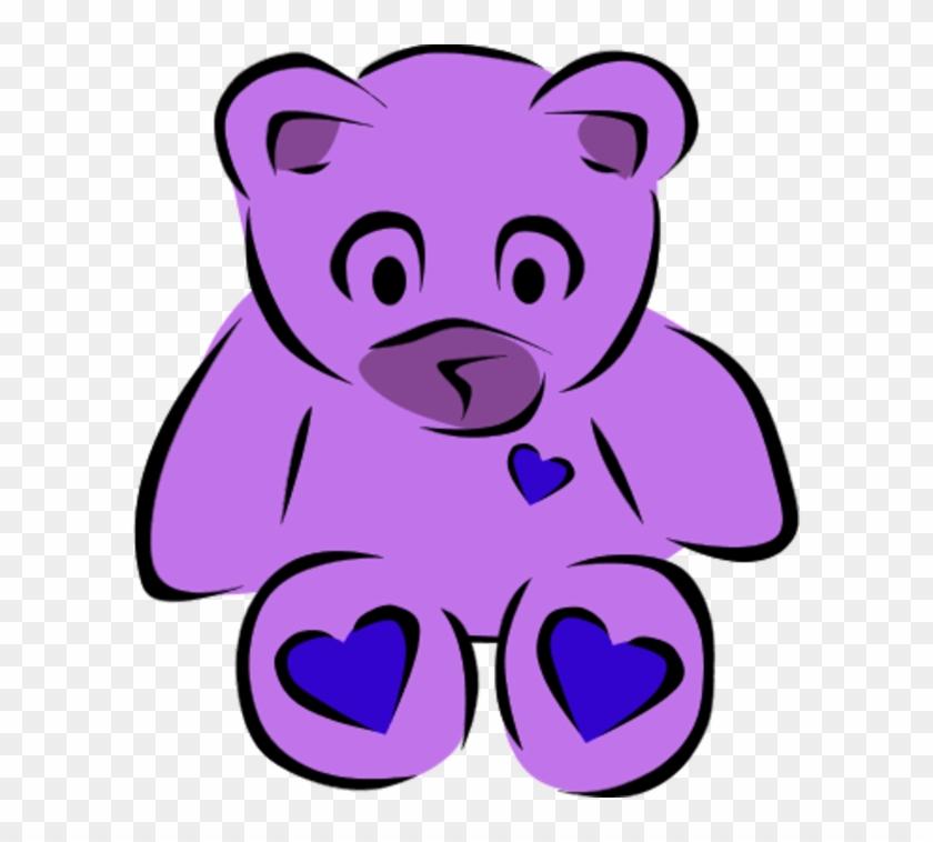 Teddy Bear With Heart Clipart - Purple Teddy Bear Clip Art Png #87564