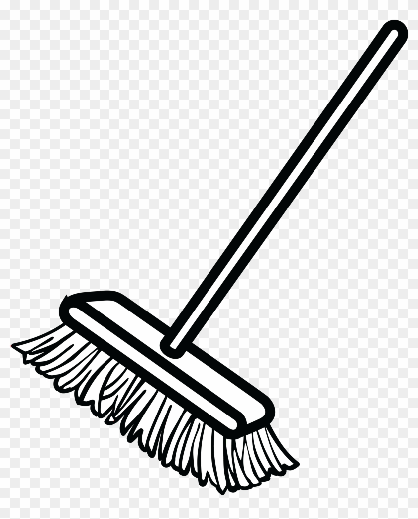 Free Clipart Of A Shop Broom - Broom Black And White #87911