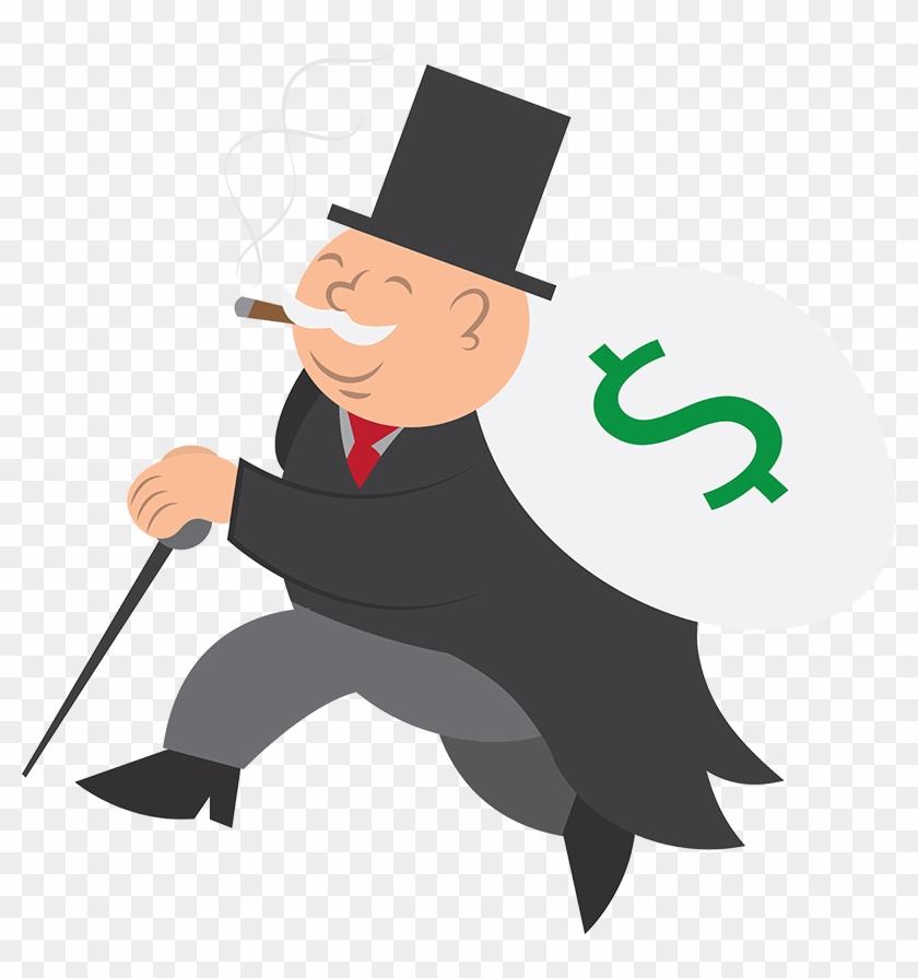Money Man With Money Bag - Fat Guy With Money Cartoon #87984