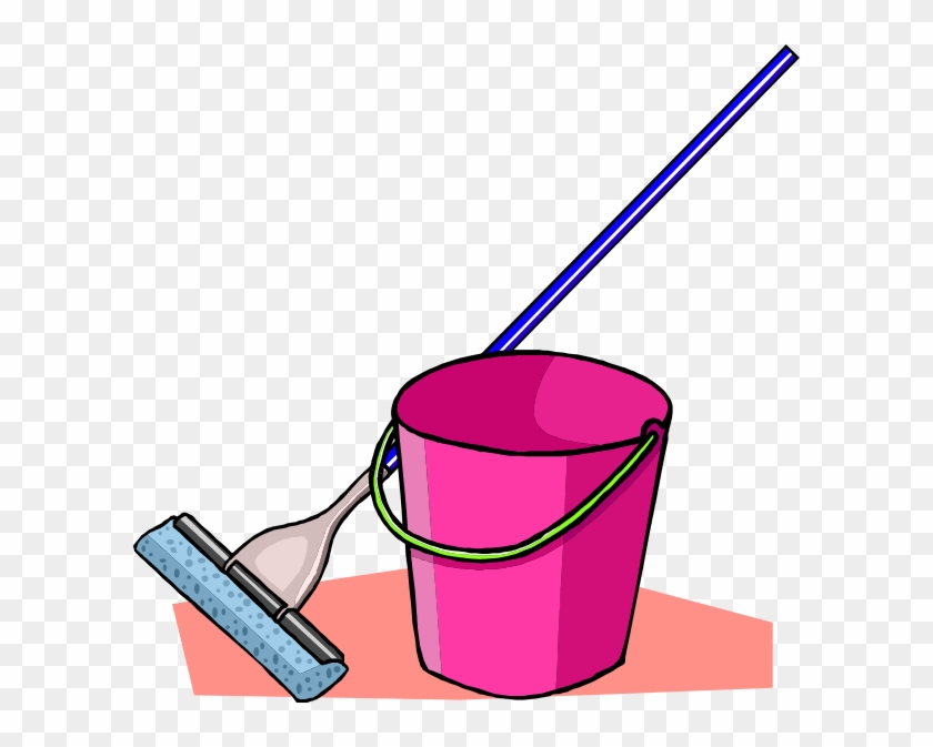 Mop Floor Cleaning Floor Buffer Clip Art - Cartoon Mop And Bucket #88011