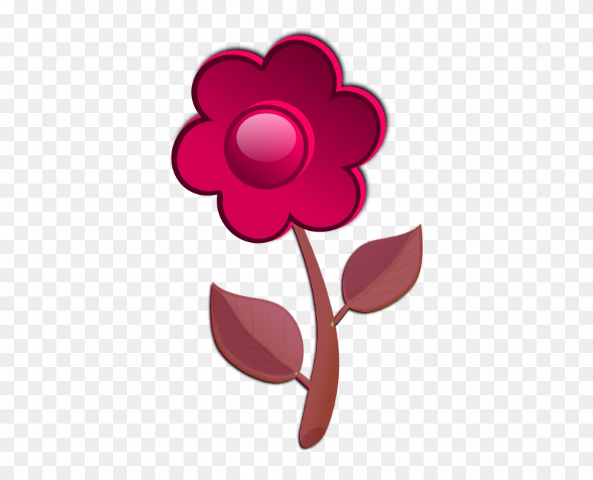 Pink Flower Cute Clip Art - Red Violet Flowers Clipart #88194