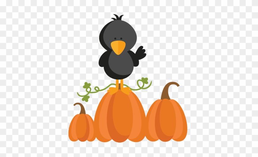 Autumn Crow Svg Scrapbook Cut File Cute Clipart Files - Cute Crow Clipart Black And White #88282