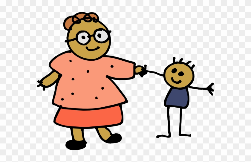 Free Vector Mom Holding Childs Hand Clip Art - Mom And Me Clip Art #88302